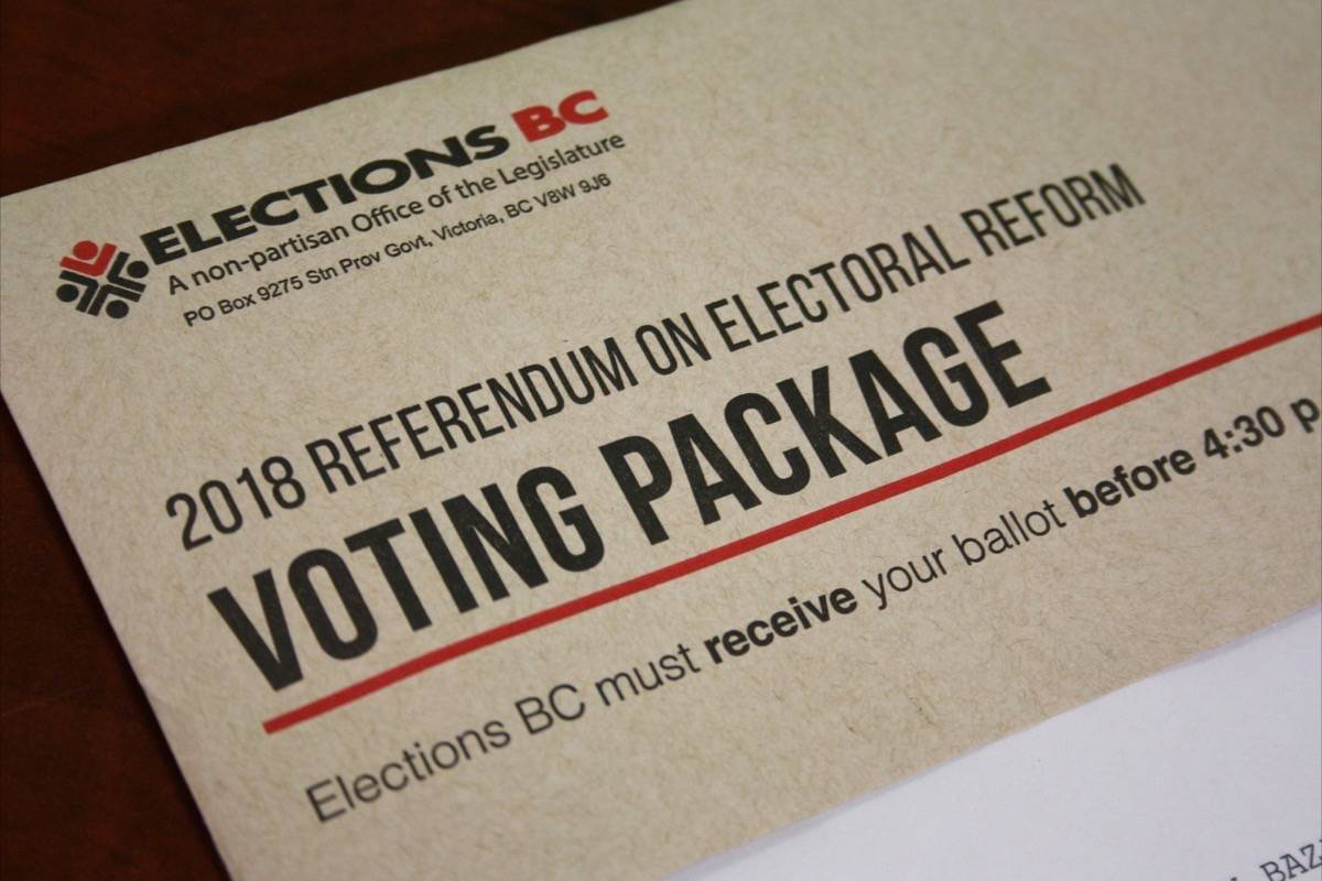 A voting package for the 2018 electoral reform referendum. Vote-by-mail packages for the 2020 provincial election will look similar, according to information provided by Elections BC. (Katya Slepian/Black Press Media)
