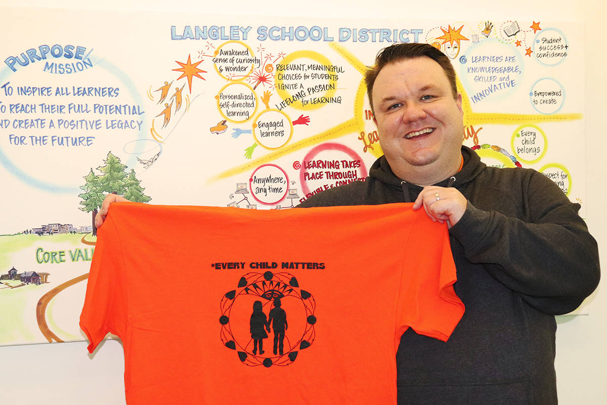 Mike Pue, district principal of Aboriginal education in Langley, shares how students in Langley will mark Orange Shirt Day on September 30, 2020. (Langley School District/Special to Langley Advance Times)