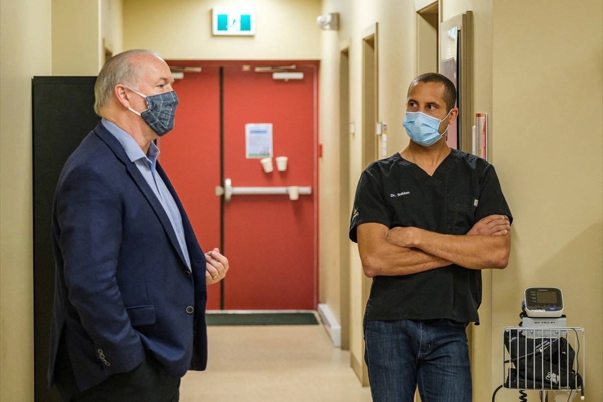 B.C. NDP leader John Horgan visits an urgent care clinic in Sooke, June 2020. (B.C. government)