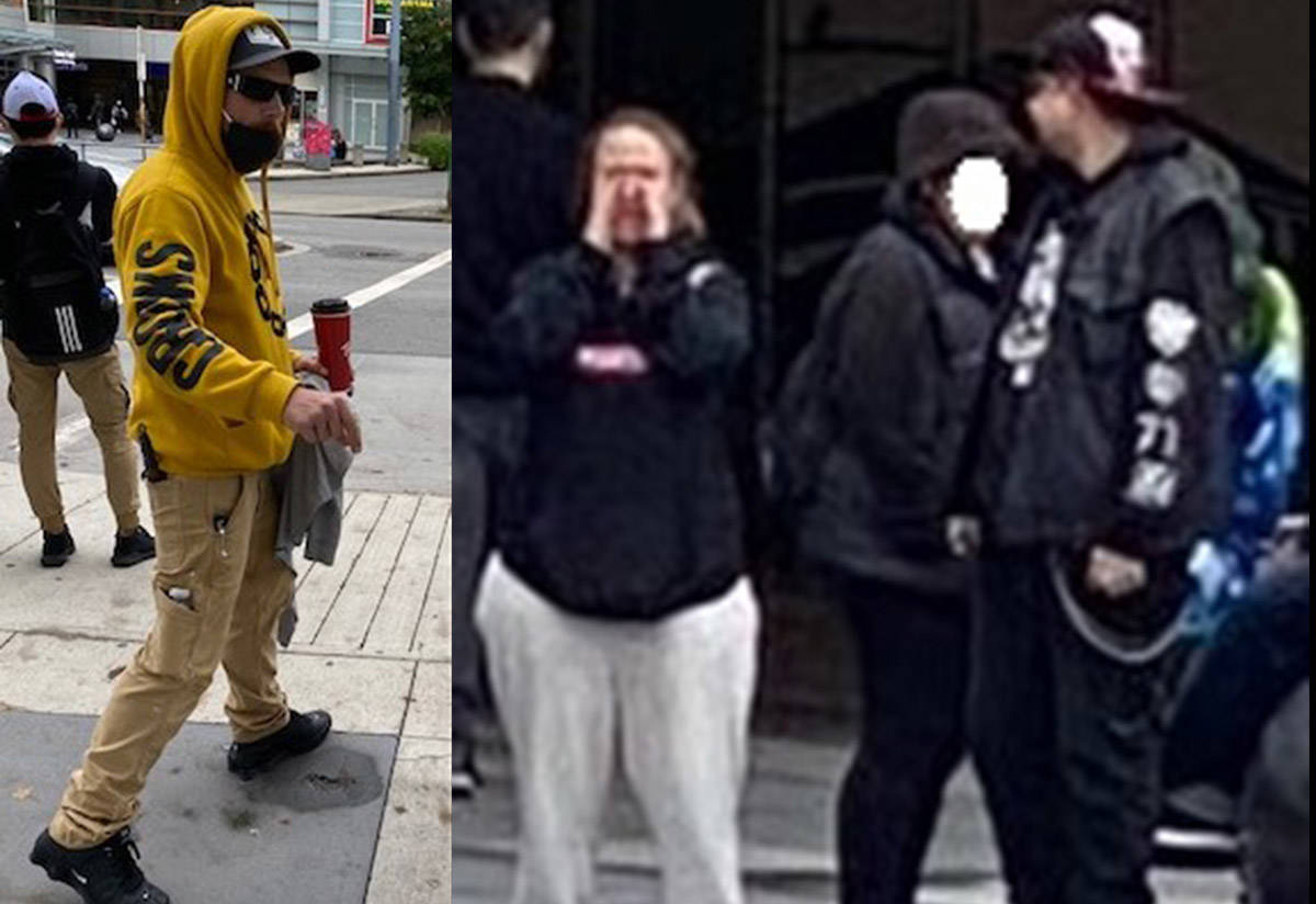 Police are asking for the public's help in identifying three suspects in relation to a disturbing incident which occurred in the Metrotown area in Burnaby, B.C., on Saturday, Sept. 30, 2020. (RCMP handout)