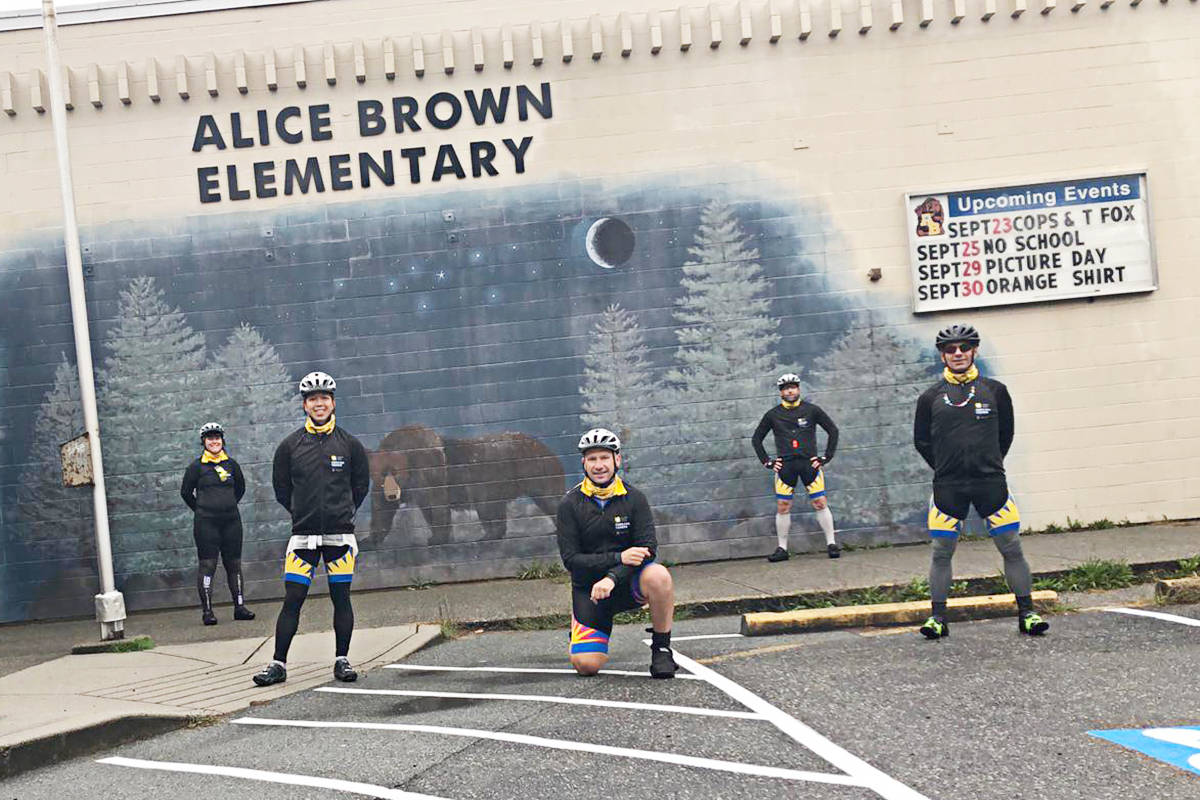 """Officers from Delta to the Fraser Valley did a five-day """"virtual"""" Cops for Cancer Tour de Valley ride Sept. 21-25, as they couldn't go into schools during the cancer fundraiser. (Cops for Cancer/Special to the Langley Advance Times)"""