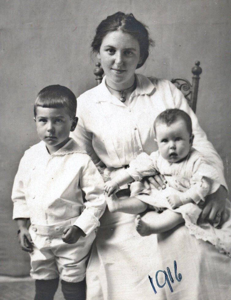Mabel Hughes with her children, Bill and Mary. Mary will be 105 years of age on Oct. 25, 2020. (family photo)