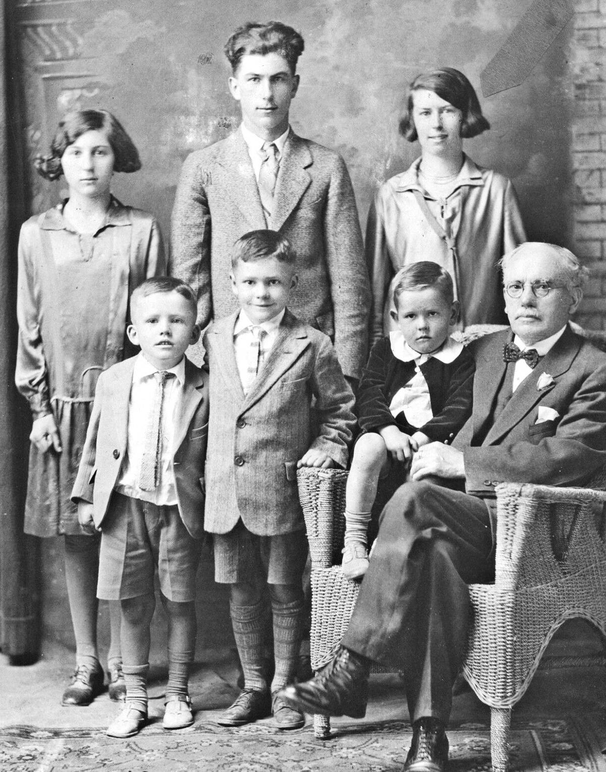 Mary (back right) and her siblings and cousins were photographed with their grandfather when he visited from Wales in the 1920s. (family photo)