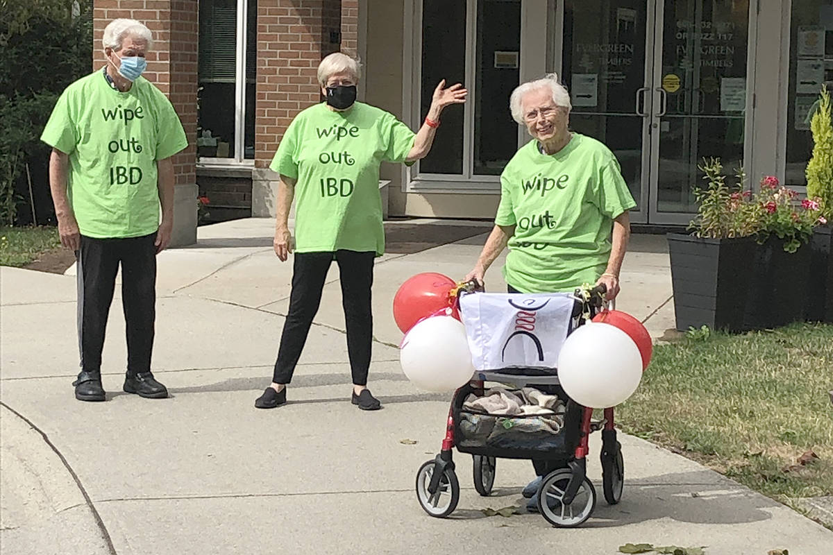 Mary Foote (right) took part in the Gutsy Walk in August 2020 at the age of 104. She was joined by son in-law Clarence and daughter Edith Olson. (family photo)