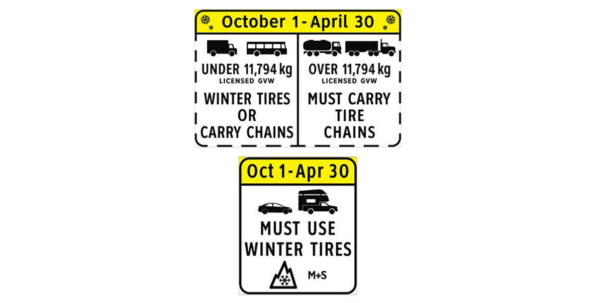 Winter tire signs in British Columbia (DriveBC screenshot)