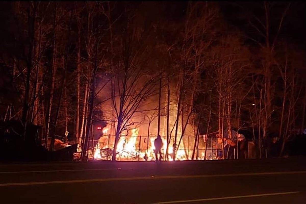 Fire breaks out with exploding propane tanks at an entrenched tent camp in Maple Ridge, March 2019. (Maple Ridge News)