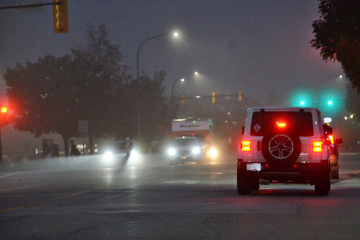 Patchy fog in the Lower Mainland on the Friday morning. (Heather Colpitts/Langley Advance Times)