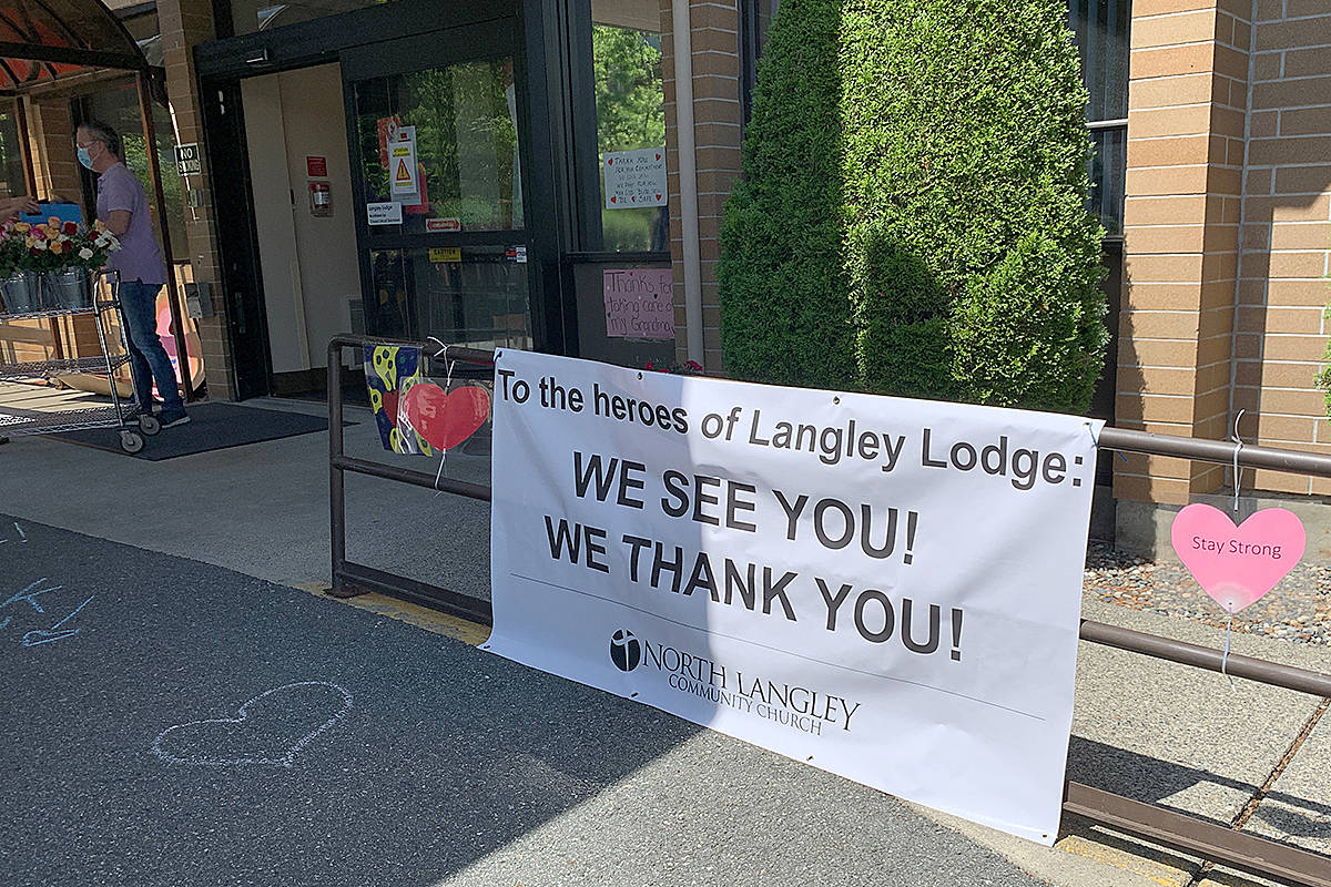 A team of volunteers from North Langley Community Church were among those in the community to give thanks to the frontline workers at Langley Lodge for all they did during the long-term care centre's COVID-19 outbreak. (Special to Langley Advance Times)