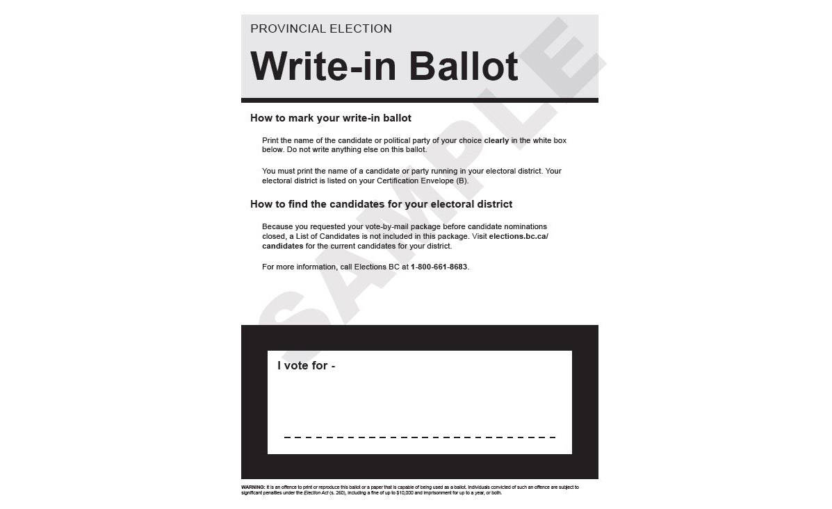 Write-in ballot sample. (Elections BC handout)