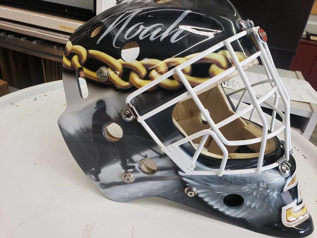 Hockey mask painted in memory of Noah Trulsen.