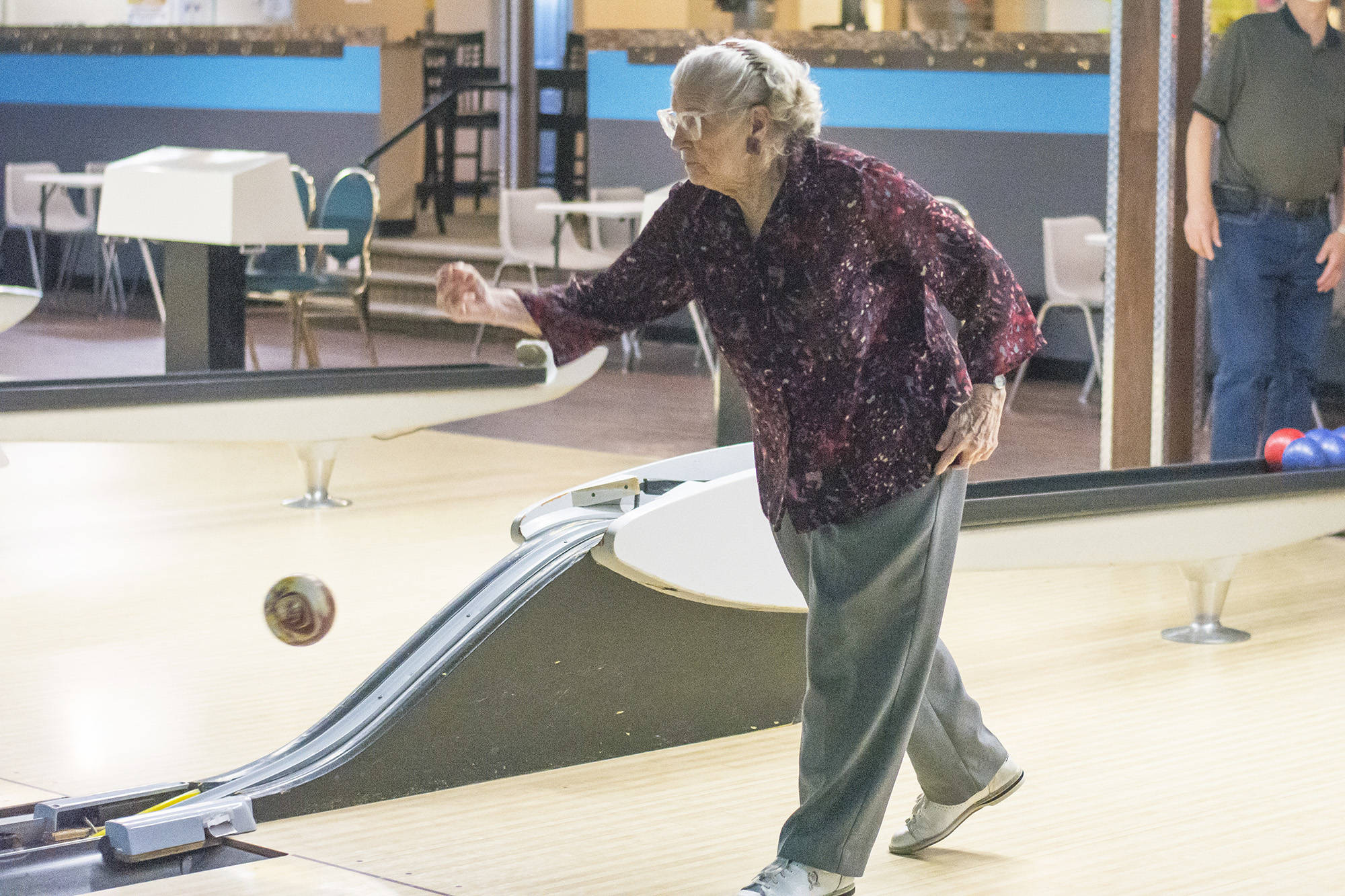 Florence Pineo still bowls in a league at Lakeside Bowling making her one of the oldest bowlers in Western Canada. (Jim Elliot/Salmon Arm Observer)