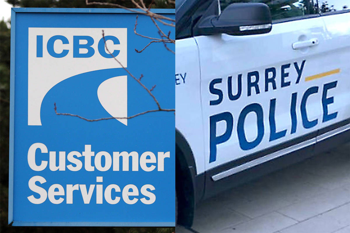 The NDP are promising to provide drivers a rebate on any ICBC earnings during the pandemic, while the BC Liberals have pledged to hold a referendum on Surrey's police transition. (The Canadian Press/Black Press Media)