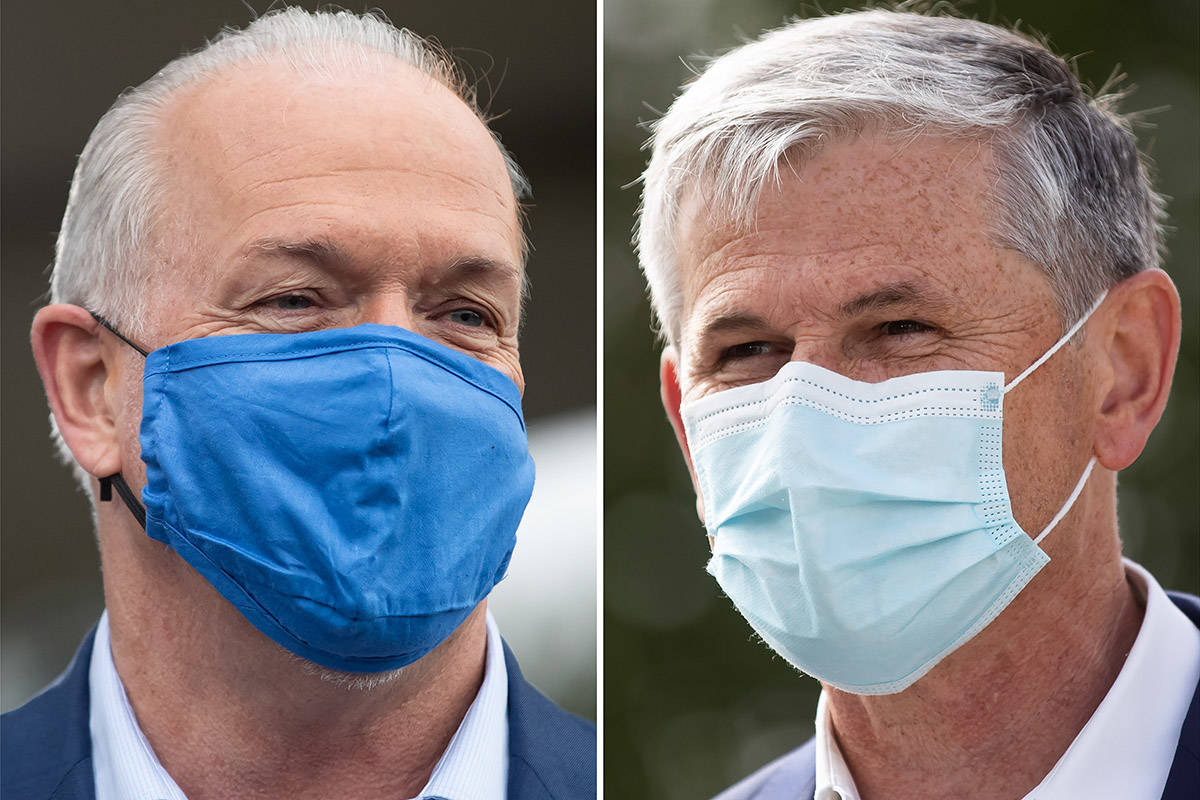 In this two panel photograph; NDP Leader John Horgan, left, and Liberal Leader Andrew Wilkinson wear face masks to curb the spread of COVID-19, during campaign stops. A provincial election will be held in British Columbia on October 24. THE CANADIAN PRESS/Darryl Dyck