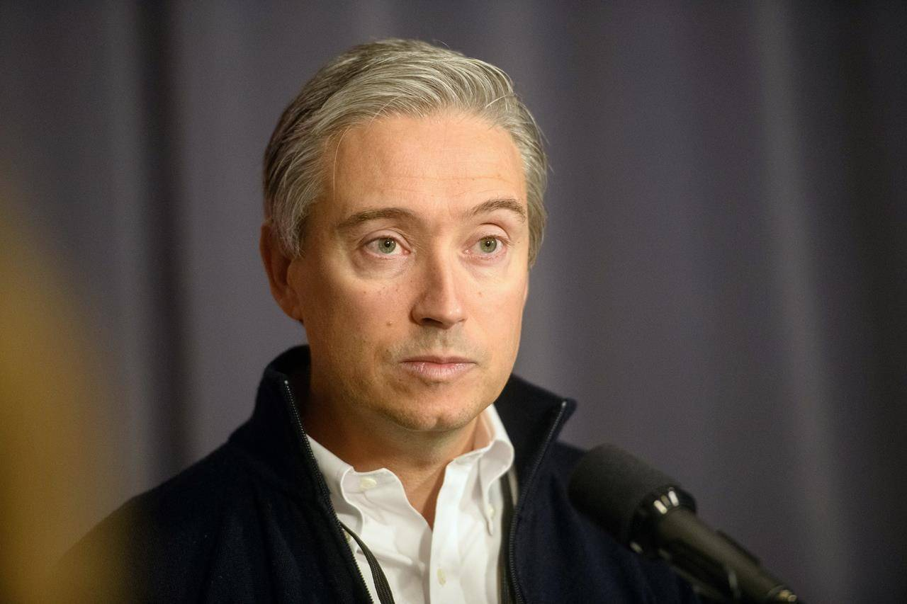 FILE – Minister of Foreign Affairs François-Philippe Champagne speaks to media before the start of the Liberal cabinet retreat at the Fairmont Hotel in Winnipeg, Sunday, Jan. 19, 2020. THE CANADIAN PRESS/Mike Sudoma
