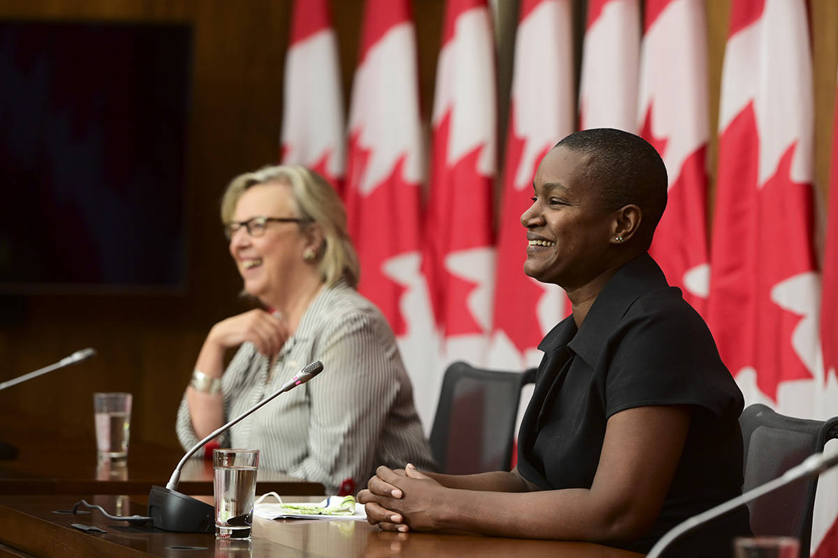 New Green Party Leader Annamie Paul holds a press conference alongside Green Party government house leader Elizabeth May in Ottawa on Monday, Oct. 5, 2020. THE CANADIAN PRESS/Sean Kilpatrick