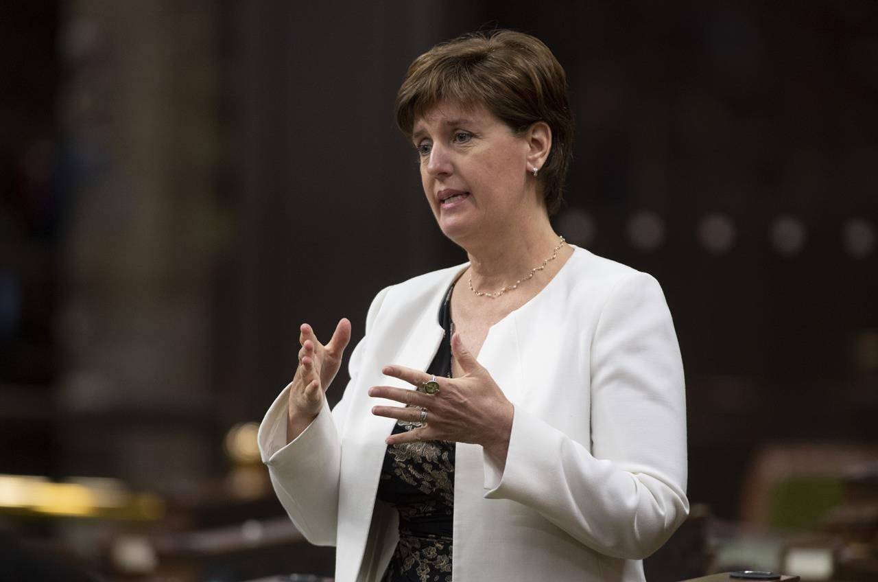 Minister of Agriculture and Agri-Food Minister Marie-Claude Bibeau rises during a sitting of the Special Committee on the COVID-19 Pandemic in the House of Commons, in Ottawa, Wednesday, June 3, 2020. THE CANADIAN PRESS/Adrian Wyld