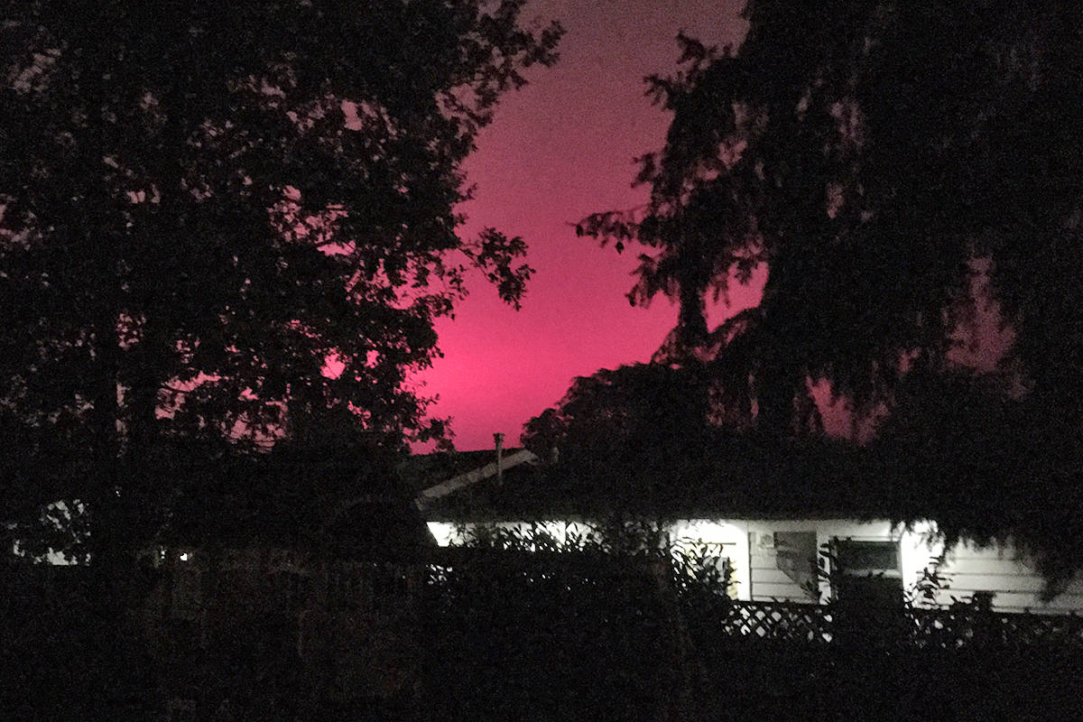 Andrea Tirshman photographed the night sky outside her Milner home and is curious about the purple glow. (Special to the Langley Advance Times)