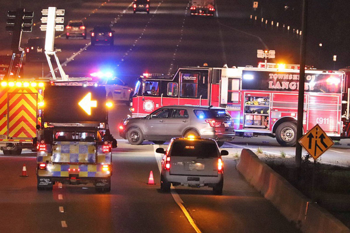 A vehicle incident had a stretch of roadway closed in Langley westbound on the Trans-Canada Highway Monday, Oct. 5, 2020. (Shane MacKichan/Special to Langley Advance Times)