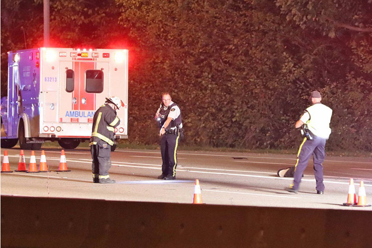 A Surrey man died after losing control of his motorcycle while travelling on the Trans-Canada Highway in Langley on Monday, Oct. 5, 2020. (Shane MacKichan)