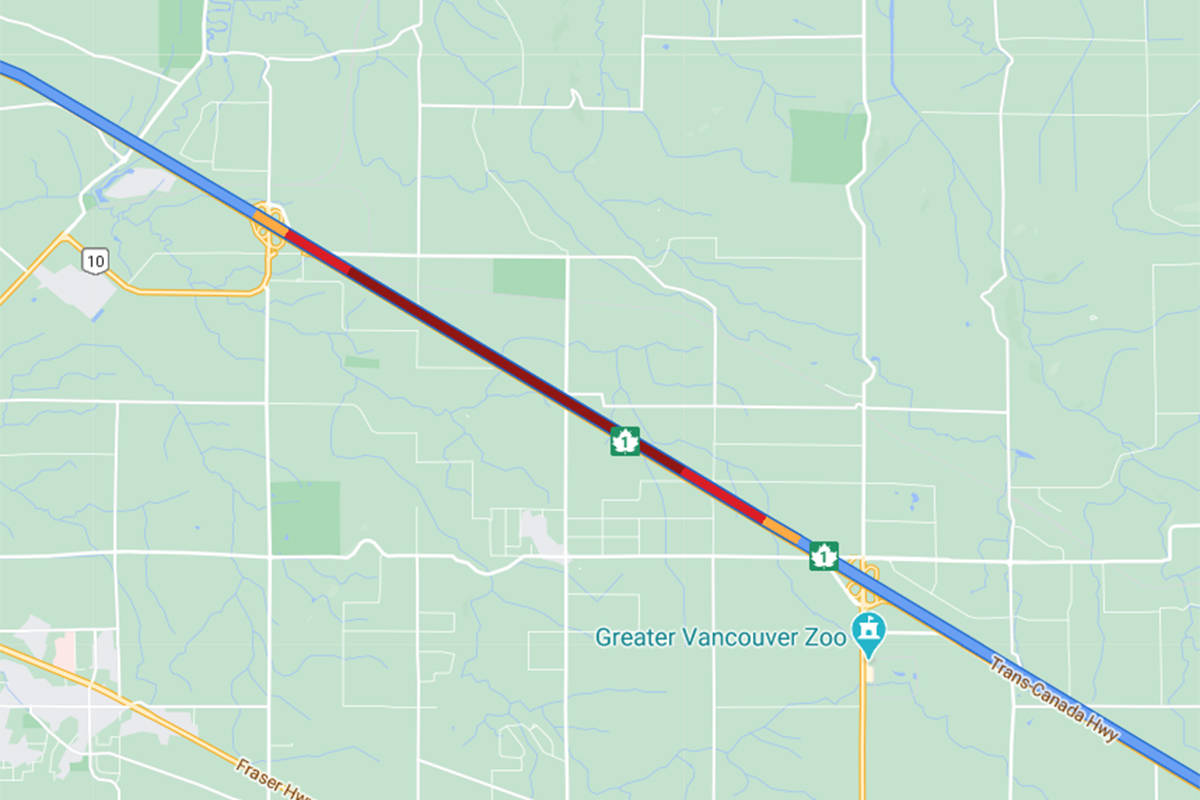 TRAFFIC: Vehicle crashes into median on Highway 1 in Langley