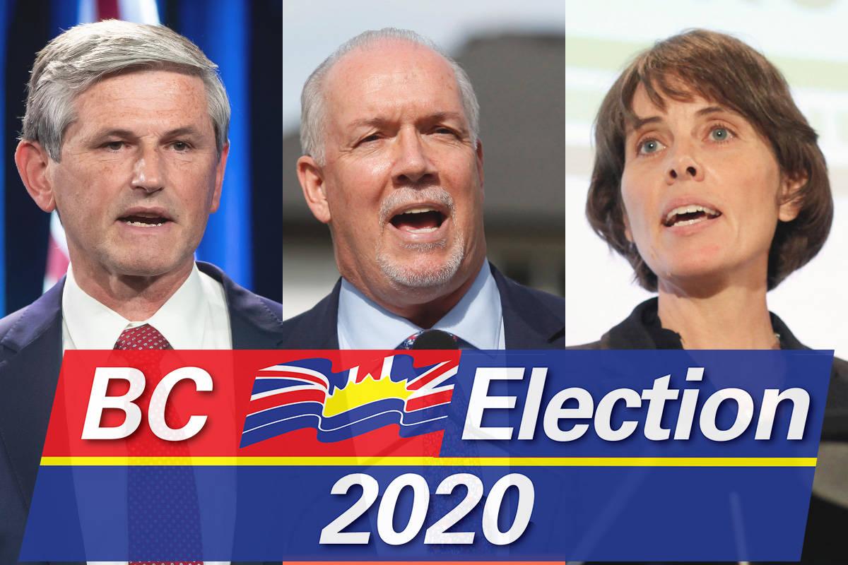 BC Election 2020. BC Liberal leader Andrew Wilkinson, BC NDP leader John Horgan, and BC Green leader Sonia Furstenau. (File)