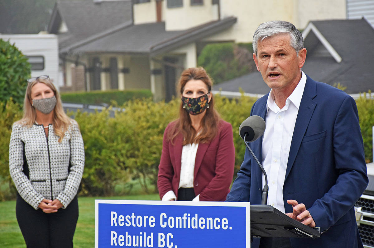 BC Liberal Leader Andrew Wilkinson flanked by Liberal candidates Chelsa Meadus (left) for Maple Ridge-Mission and Cheryl Ashlie for Maple Ridge-Pitt Meadows. (Neil Corbett/The News)