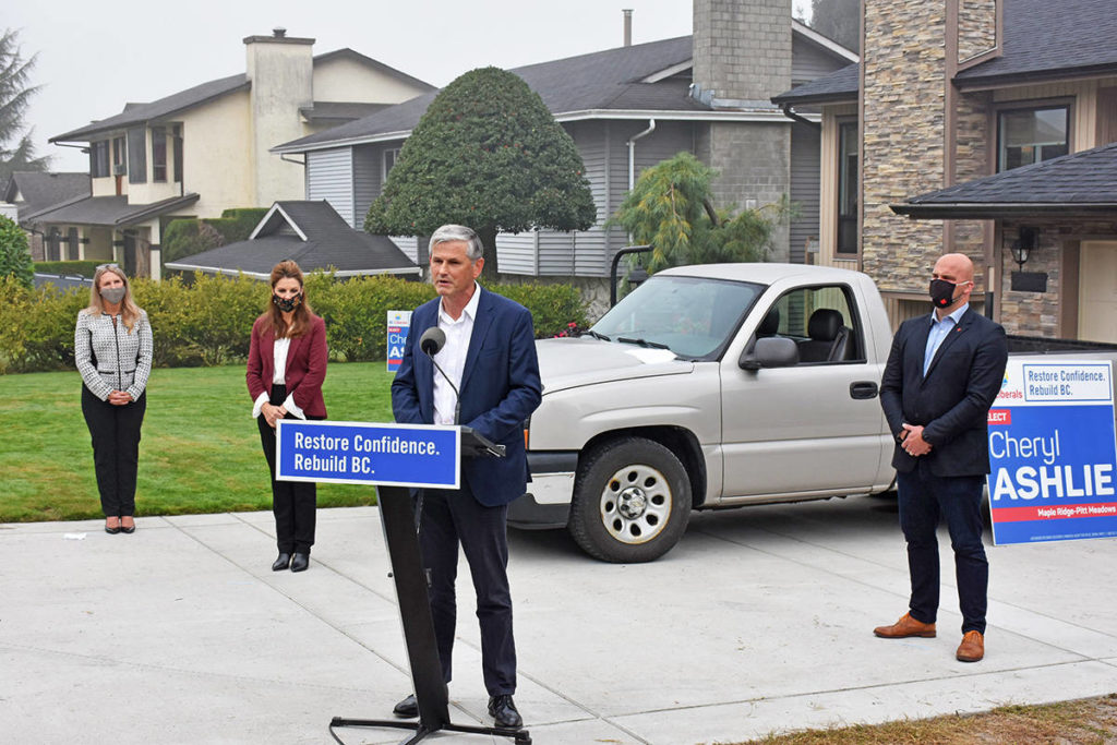 BC Liberal Leader Andrew Wilkinson announces an end to the ICBC monopoly if the Liberal Party is elected, during a stop in Maple Ridge on Tuesday morning. (Neil Corbett/The News)