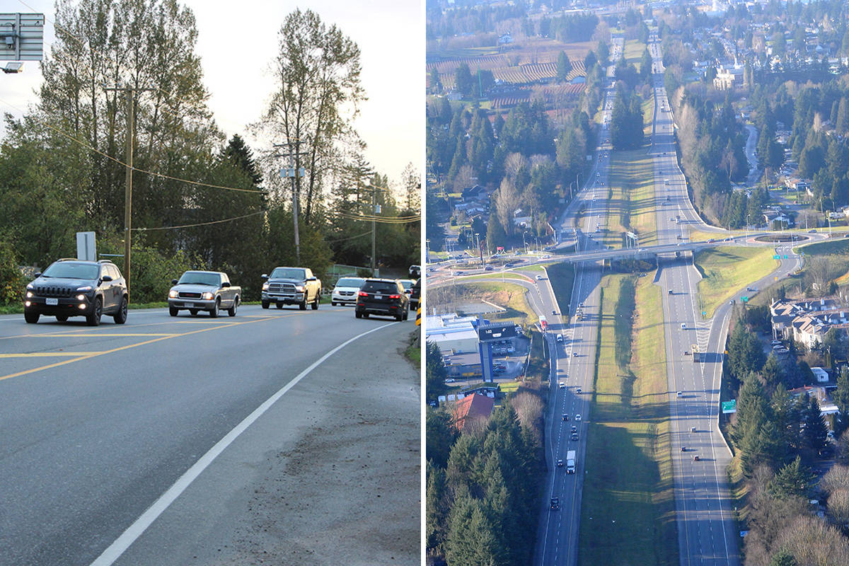 Fraser Highway is on the left. Highway 1 is on the right. Abbotsford News file photos