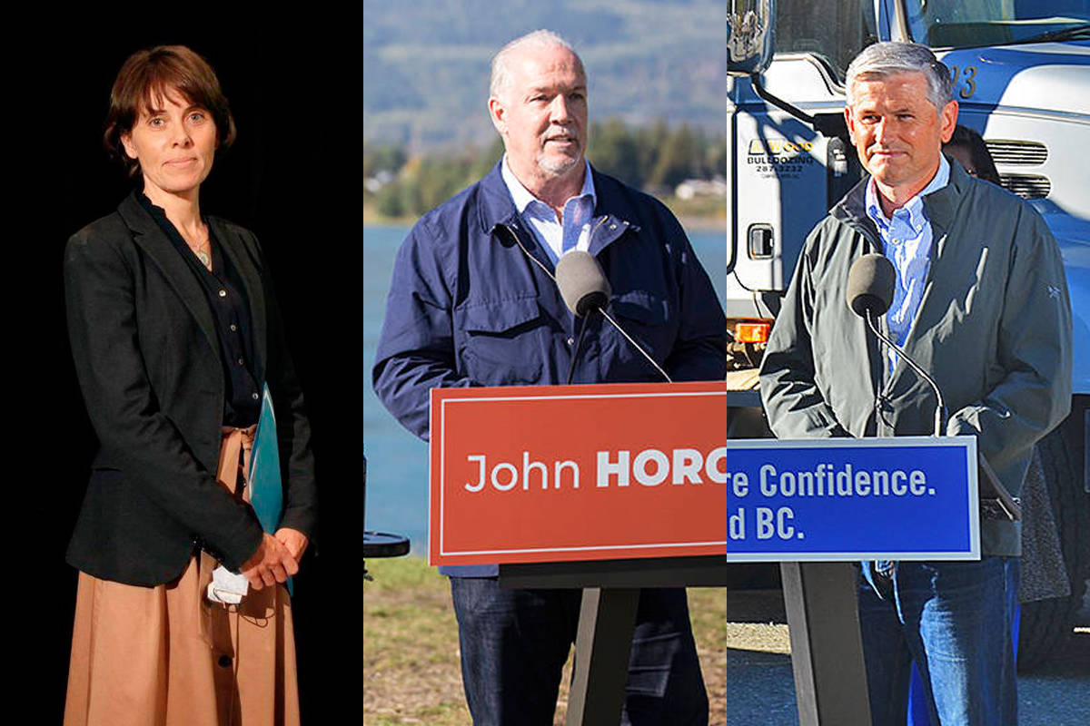 B.C. Green Party leader Sonia Furstenau, B.C. NDP leader John Horgan, and B.C. Liberal Party leader Andrew Wilkinson. (Canadian Press/Black Press photos)