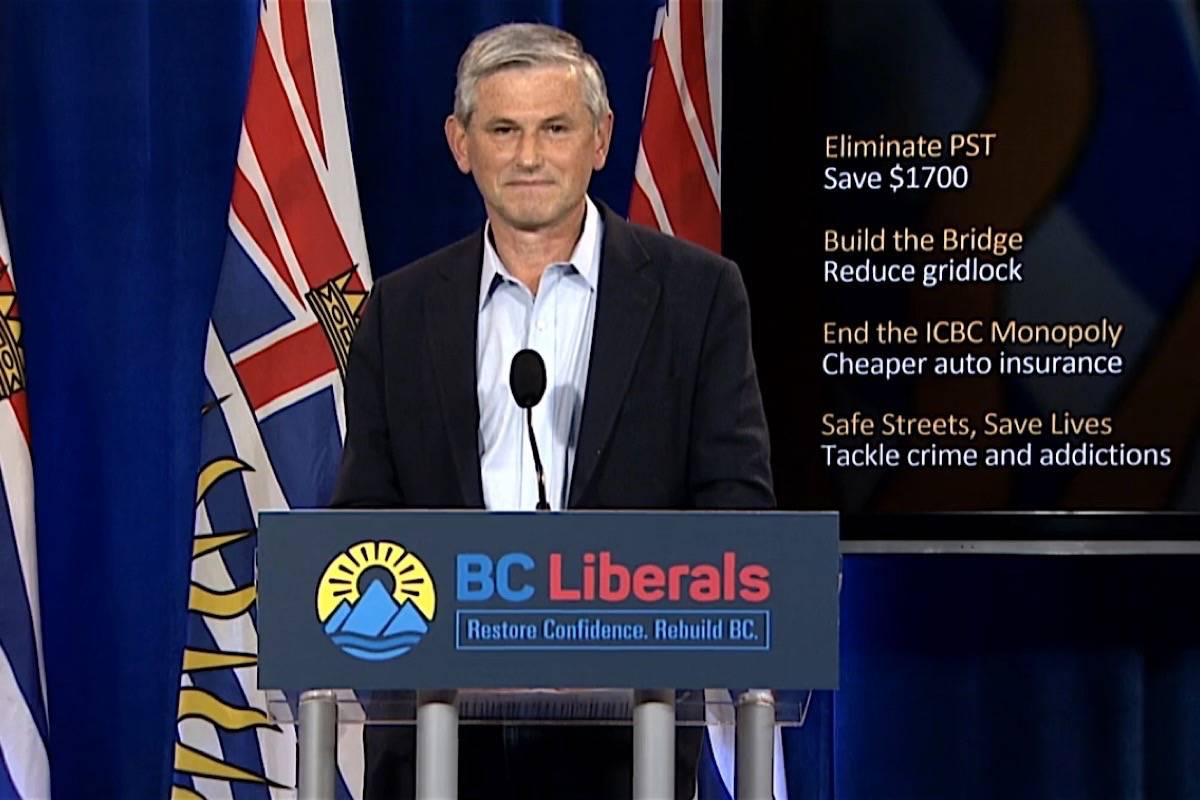 B.C. Liberal leader Andrew Wilkinson announces plan for more police and psychiatric support teams, Vancouver, Oct. 7, 2020. (B.C. Liberal Party)