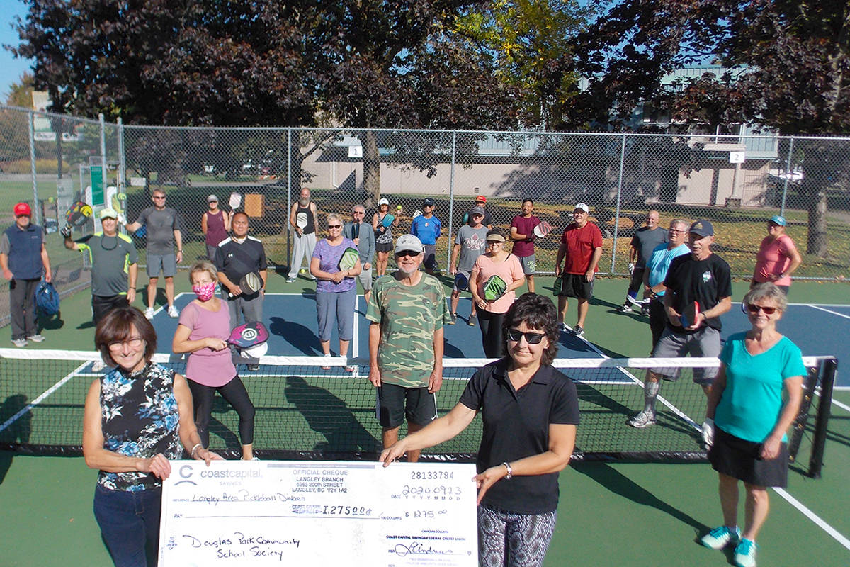 Langley Area Pickleball Dinkers weren't able to host their summer tournament but passed the paddle and still raised $1,275 for the Douglas Park Community School Society. (LAPD/Special to the Langley Advance Times)