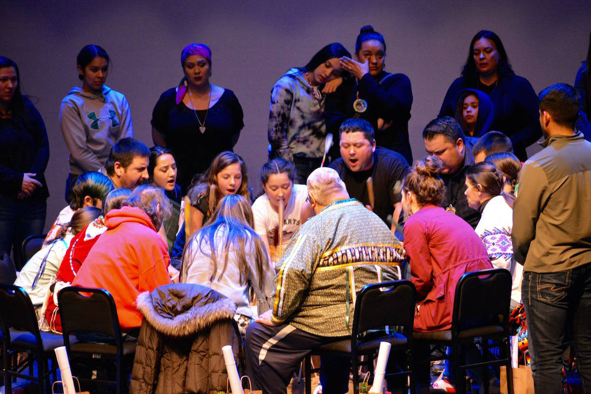 A Sinixt drum circle on the stage of the Capitol Theatre in Nelson. The case, which began in 2010, was heard at the Supreme Court of Canada on Oct. 8. Photo: Bill Metcalfe