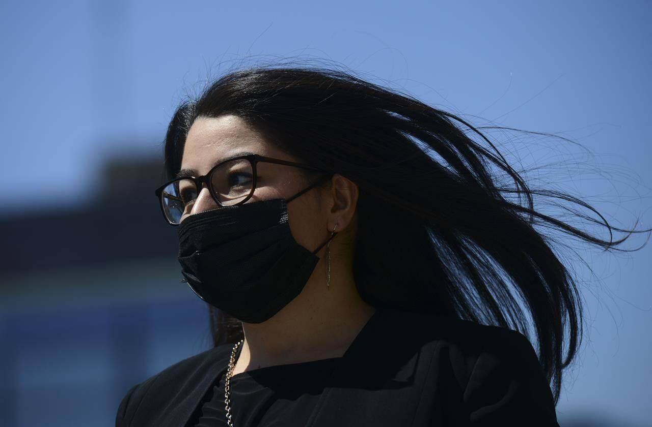 Minister for Women and Gender Equality and Rural Economic Development Maryam Monsef arrives on Parliament Hill during the COVID-19 pandemic in Ottawa on Wednesday, May 20, 2020. THE CANADIAN PRESS/Sean Kilpatrick