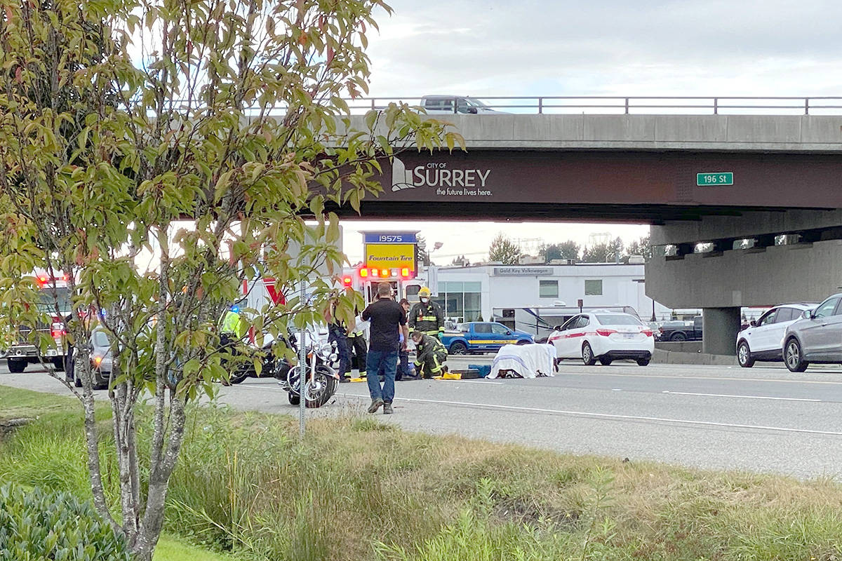 Paramedics transported one person to hospital in serious condition on Thursday, Oct. 8, 2020 after a crashing involving a motorcycle at the Langley-Surrey border. (Langley Advance Times)