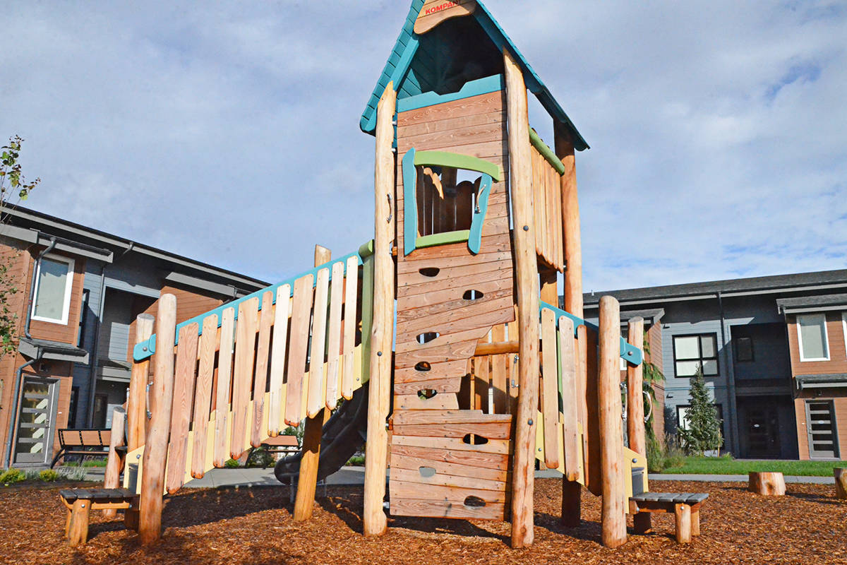 The Emmaus Place complex features housing, a playground, and garden boxes for residents. (Matthew Claxton/Langley Advance Times)