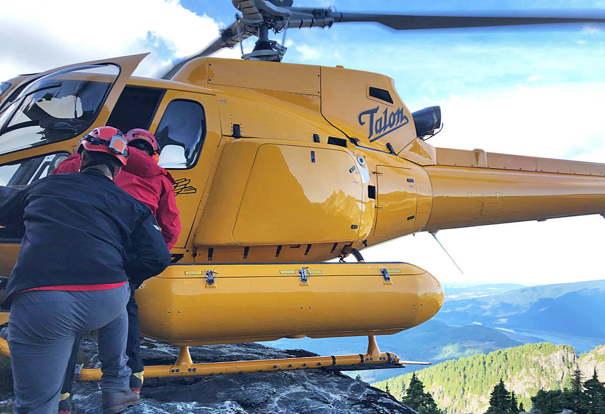 Talon helicopters assisted search and rescue in getting hikers off Golden Ears Mountain. (Special to The News)