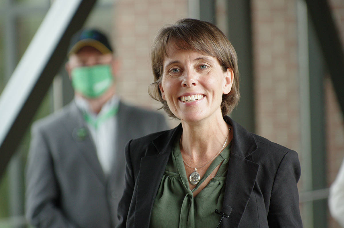 BC Green Party leader Sonia Furstenau at Nanaimo's Vancouver Island Conference Centre on Friday, Oct. 9, where she announced her party's climate action and clean economy platform. (Chris Bush/News Bulletin)