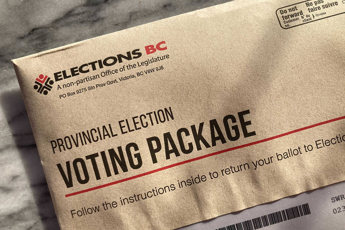 A provincial mail-in ballot. Black Press file photo.