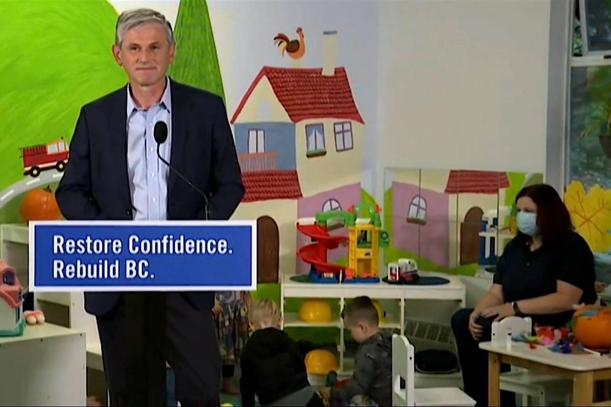 B.C. Liberal leader Andrew Wilkinson visits a North Vancouver daycare to announce his party's election promises for child care, Oct. 9, 2020. (B.C. Liberal Party video)