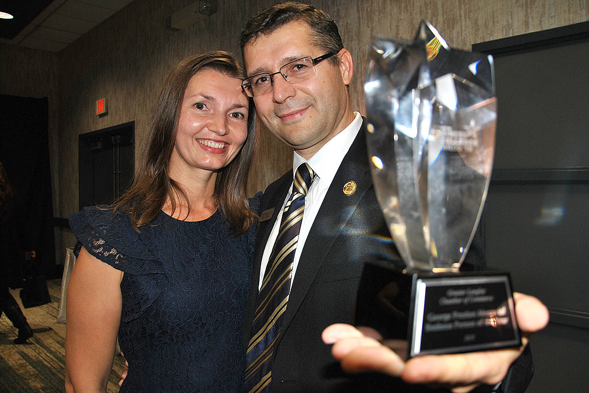 Ala Cazacu congratulated her husband, Lilian, for winning the title of 2019's George Preston Memorial Businessperson of the Year during last year's Greater Langley Chamber of Commerce 23rd annual Business of Excellence Awards. (Langley Advance Times files)