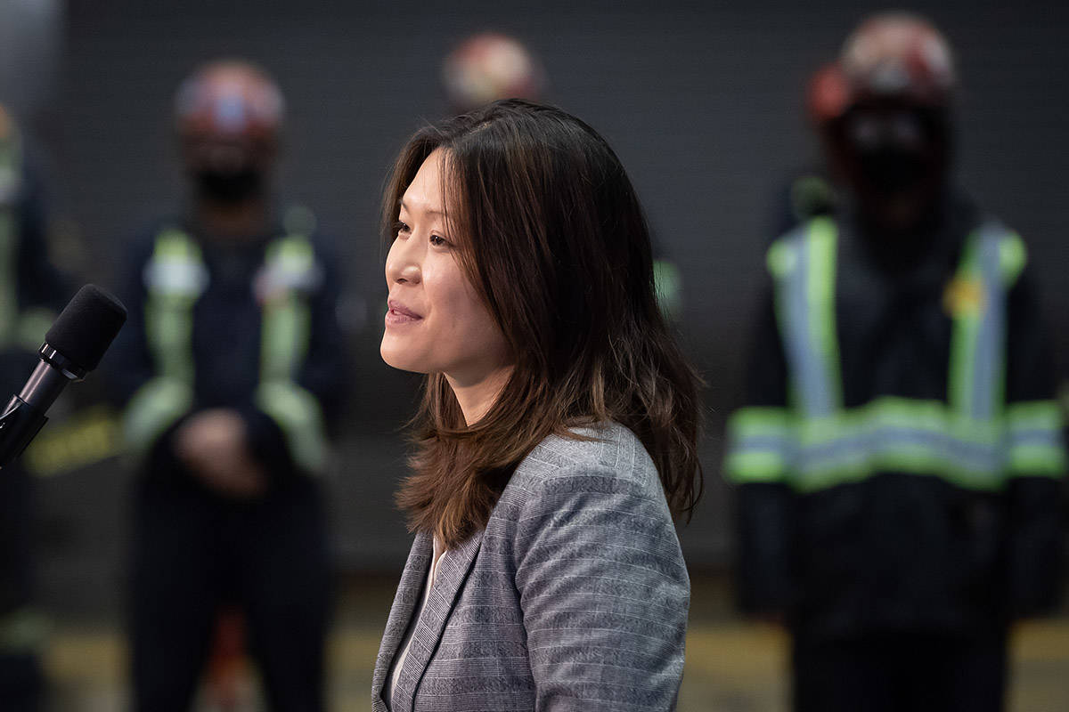 NDP candidate for North Vancouver-Lonsdale, Bowinn Ma, introduces NDP Leader John Horgan during a campaign stop at Seaspan Shipyards in North Vancouver B.C., on Friday, October 9, 2020. A provincial election will be held in British Columbia on October 24. THE CANADIAN PRESS/Darryl Dyck
