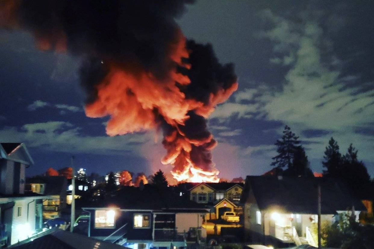 VIDEO: Large fire breaks out in New Westminster industrial area