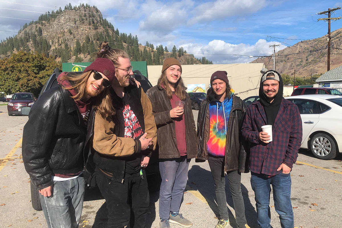 """From the left: """"Scrapes"""" members Quinn Penez, Xander Bauch, Luke Segal, Teagan Ramage and Matt Parson, who said they played Saturday's rock concert on Vernon St. Photo: Laurie Tritschler."""