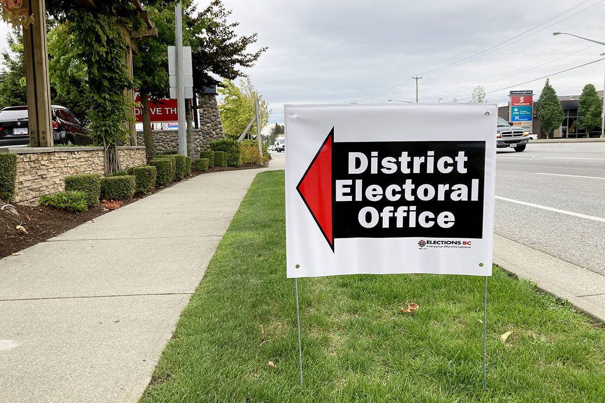 A sign for the B.C. provincial election is seen in Surrey. The election will take place on Saturday, Oct. 24, 2020. (Katya Slepian/Black Press Media)