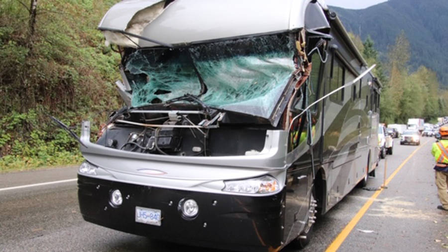 An RV travelling at full speed on Highway 1 on the morning of Oct. 13, 2020 was hit by a falling tree during a major windstorm. RCMP said it was a miracle there were no serious injuries. (Shane MacKichan photo)