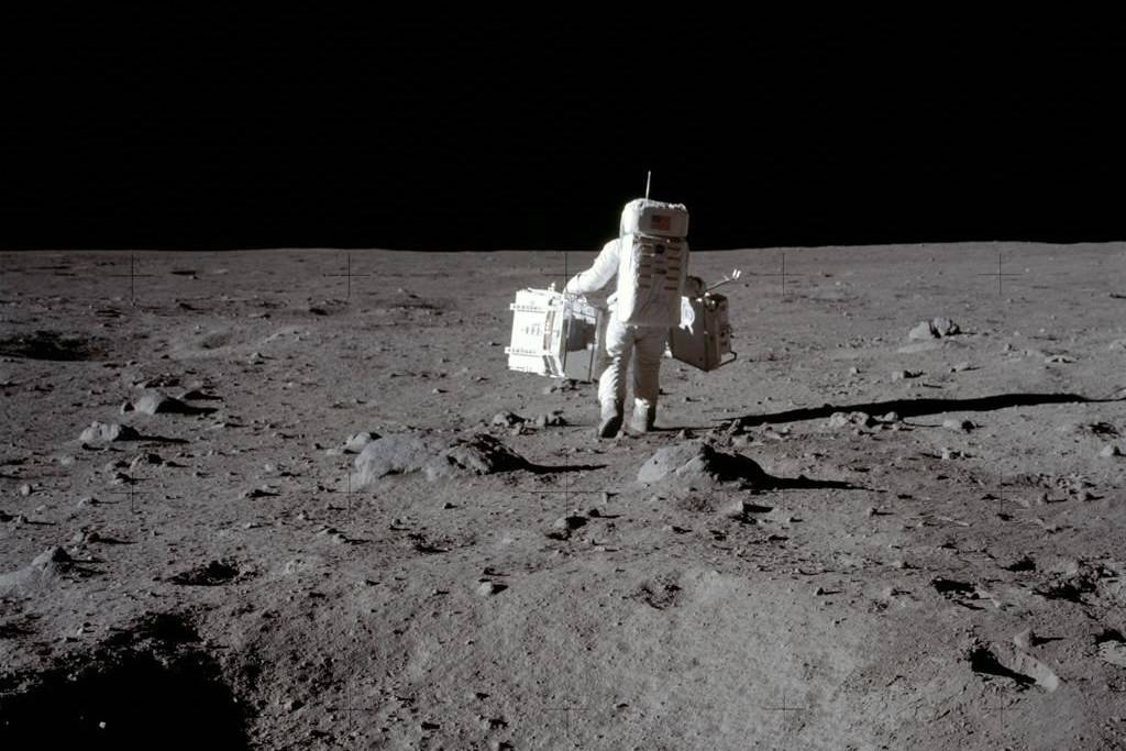 Lunar module pilot Buzz Aldrin carries a seismic experiments package in his left hand and the Laser Ranging Retroreflector to the deployment area on the surface of the moon at Tranquility Base, July 20, 1969. Canada has signed on to the Artemis Accords, a U.S.-led effort to establish global guidelines, based on the 1967 Outer Space Treaty and other agreements. THE CANADIAN PRESS/AP-HO-NASA, Neil Armstrong