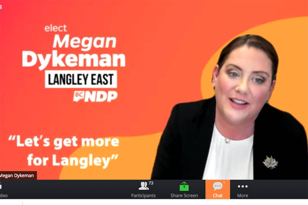 Megan Dykeman, Langley East NDP candidate takes part in Zoom all-candidates meeting (screenshot.)