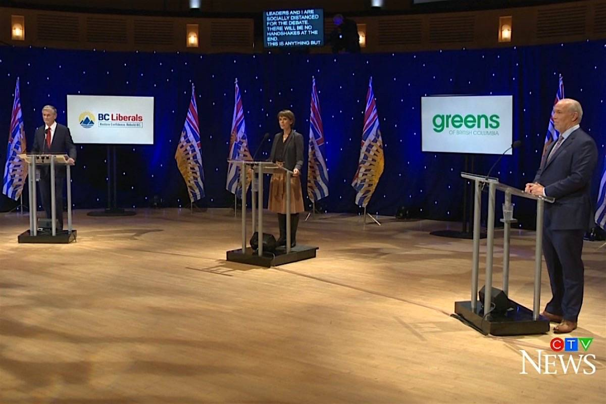B.C. Liberal leader Andrew Wilkinson, B.C. Greens leader Sonia Furstenau and B.C. NDP leader John Horgan take part in election debate at the UBC campus, Vancouver, Oct. 13, 2020. (CTV)