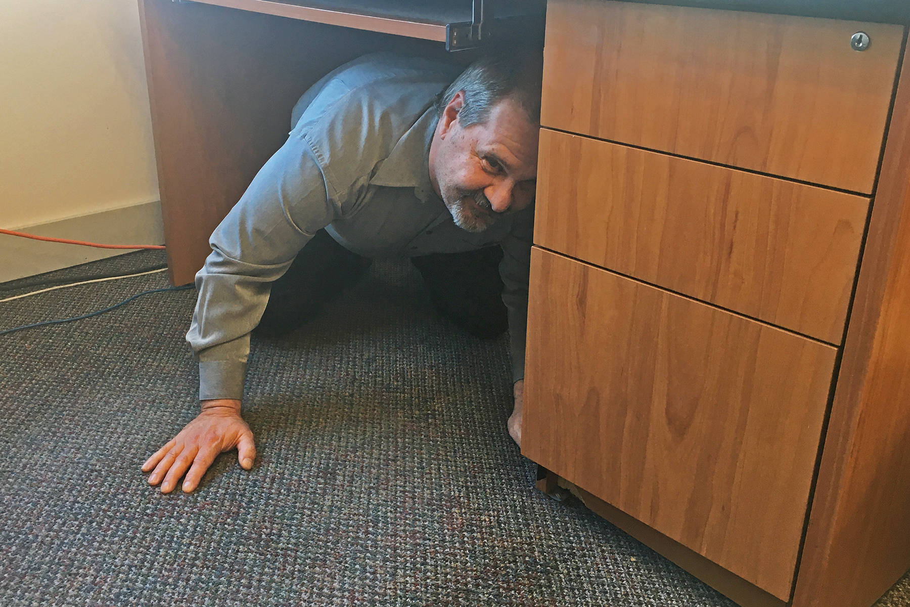 Offices, schools, homes and more offer protection in the event of an earthquake. The Great BC ShakeOut is slated for Oct. 15, but individuals and socially distanced groups can practice earthquake drills anytime. (Black Press media file photo)