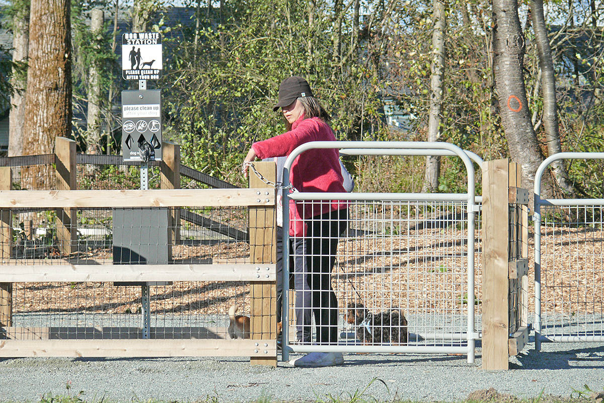 A dog owner closes a double gate at the entrance to the just-opened off-leash park at 5257 197 Street in Langley City on Wednesday, Oct. 14 (Dan Ferguson/Langley Advance Times)